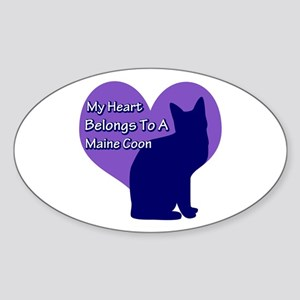 Maine Coon Heart Oval Sticker