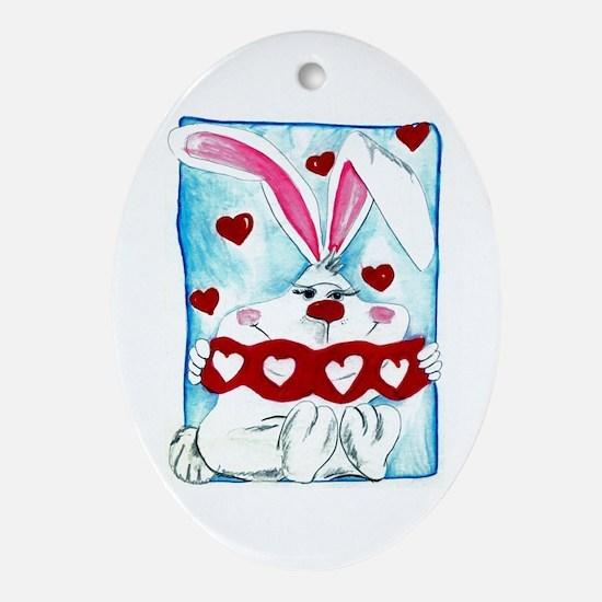 Honey Bunny Love Oval Ornament