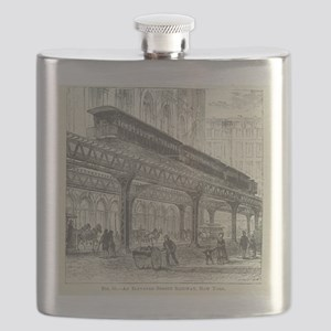 Elevated Street Railway New York Flask