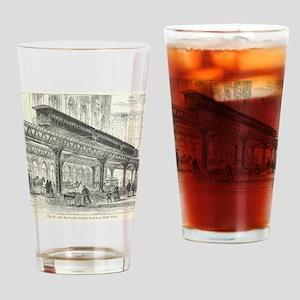 Elevated Street Railway New York Drinking Glass