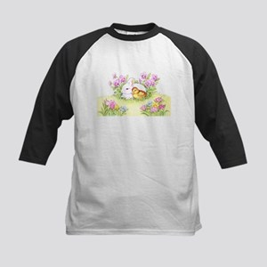 Easter Bunny, Duckling and Flowers Baseball Jersey
