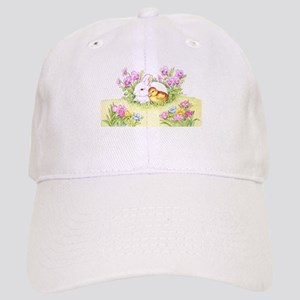 Easter Bunny, Duckling and Flowers Baseball Cap
