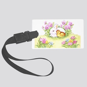 Easter Bunny, Duckling and Flowers Luggage Tag