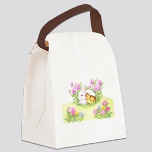 Easter Bunny, Duckling and Flowers Canvas Lunch Ba
