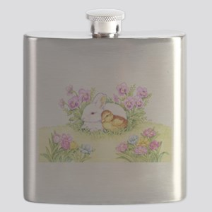 Easter Bunny, Duckling and Flowers Flask
