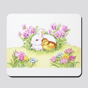 Easter Bunny, Duckling and Flowers Mousepad