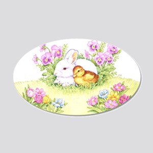 Easter Bunny, Duckling and Flowers Wall Decal