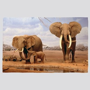 Family Of Elephants 4' x 6' Rug