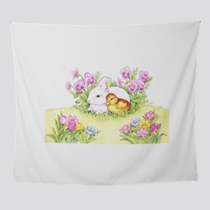 Easter Bunny, Duckling and Flowers Wall Tapestry