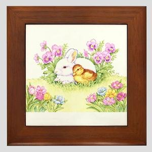 Easter Bunny, Duckling and Flowers Framed Tile