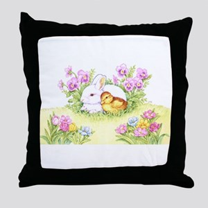 Easter Bunny, Duckling and Flowers Throw Pillow
