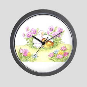 Easter Bunny, Duckling and Flowers Wall Clock