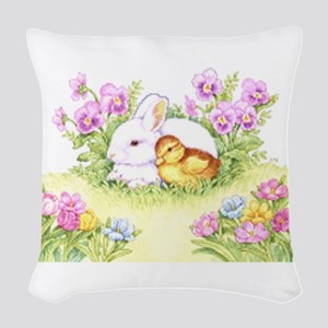 Easter Bunny, Duckling and Flowers Woven Throw Pil