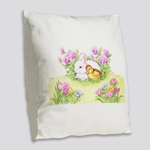 Easter Bunny, Duckling And Burlap Throw Pillow