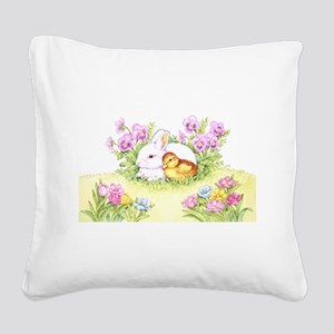 Easter Bunny, Duckling and Flowers Square Canvas P