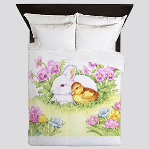 Easter Bunny, Duckling and Flowers Queen Duvet
