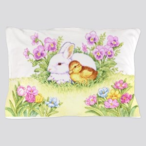 Easter Bunny, Duckling and Flowers Pillow Case