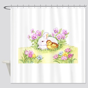 Easter Bunny, Duckling and Flowers Shower Curtain