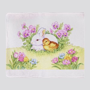 Easter Bunny, Duckling and Flowers Throw Blanket