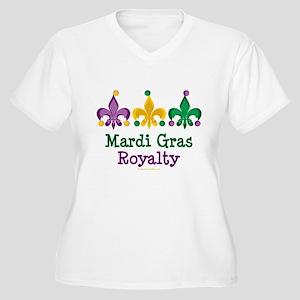 Mardi Gras Fleur de Lis Women's Plus Size V-Neck T