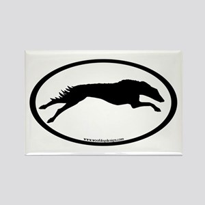 Running Borzoi Oval Rectangle Magnet