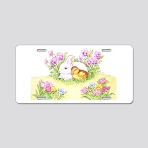 Easter Bunny, Duckling and Flowers Aluminum Licens