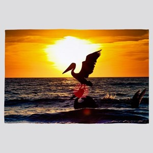Pelican On Ocean At Sunset 4' x 6' Rug