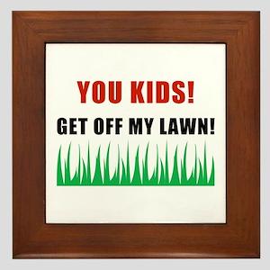 You Kids Get Off My Lawn Framed Tile