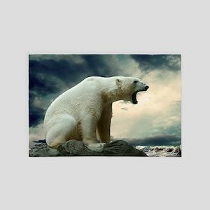 Polar Bear Roaring 4' x 6' Rug