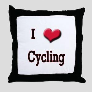 I Love (Heart) Cycling Throw Pillow