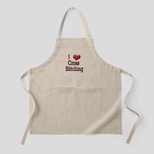 I Love (Heart) Cross Stitchin BBQ Apron