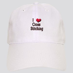 I Love (Heart) Cross Stitchin Cap