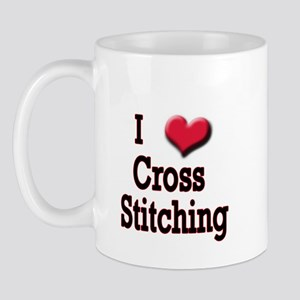 I Love (Heart) Cross Stitchin Mug