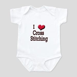 I Love (Heart) Cross Stitchin Infant Bodysuit