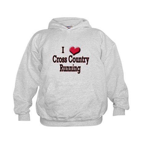 I Love (Heart) Cross Country Kids Hoodie