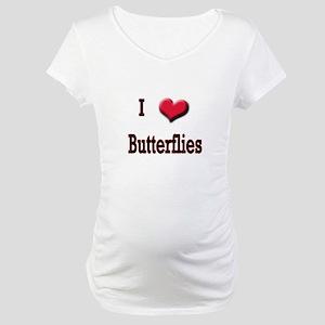 I Love (Heart) Butterflies Maternity T-Shirt