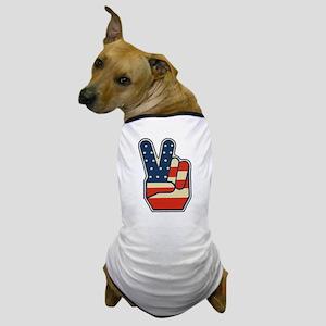 USA PEACE SIGN Dog T-Shirt