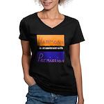Harmony Permission Women's V-Neck Dark T-Shirt
