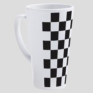 Black And White Checkered 17 oz Latte Mug