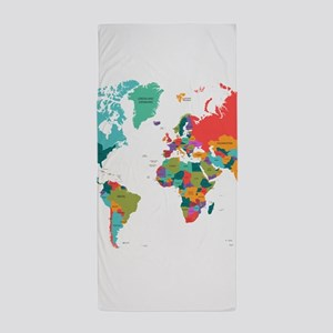 World Map With the Name of The Countri Beach Towel