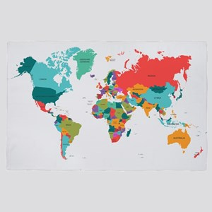 World Map With the Name of The Countri 4' x 6' Rug