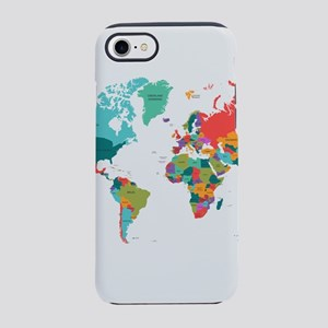 World map iphone cases cafepress world map with the name of t iphone 87 tough case gumiabroncs Images