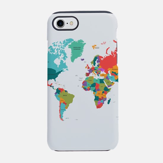 World Map With the Name of T iPhone 8/7 Tough Case