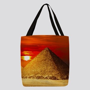 Egyptian Pyramids At Sunset Polyester Tote Bag