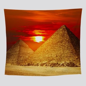 Egyptian Pyramids At Sunset Wall Tapestry