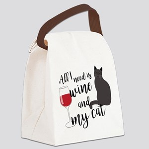 All I Need is Wine and My Cat Canvas Lunch Bag