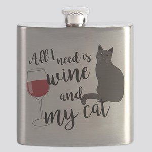 All I Need is Wine and My Cat Flask