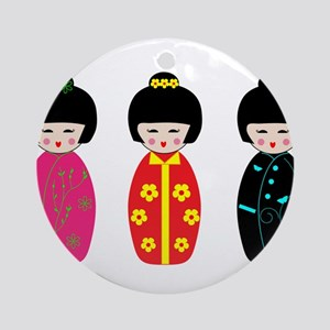 Kokeshi Dolls Round Ornament
