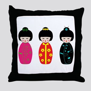 Kokeshi Dolls Throw Pillow