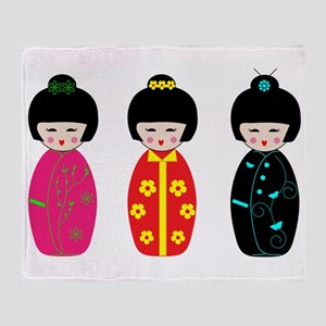 Kokeshi Dolls Throw Blanket